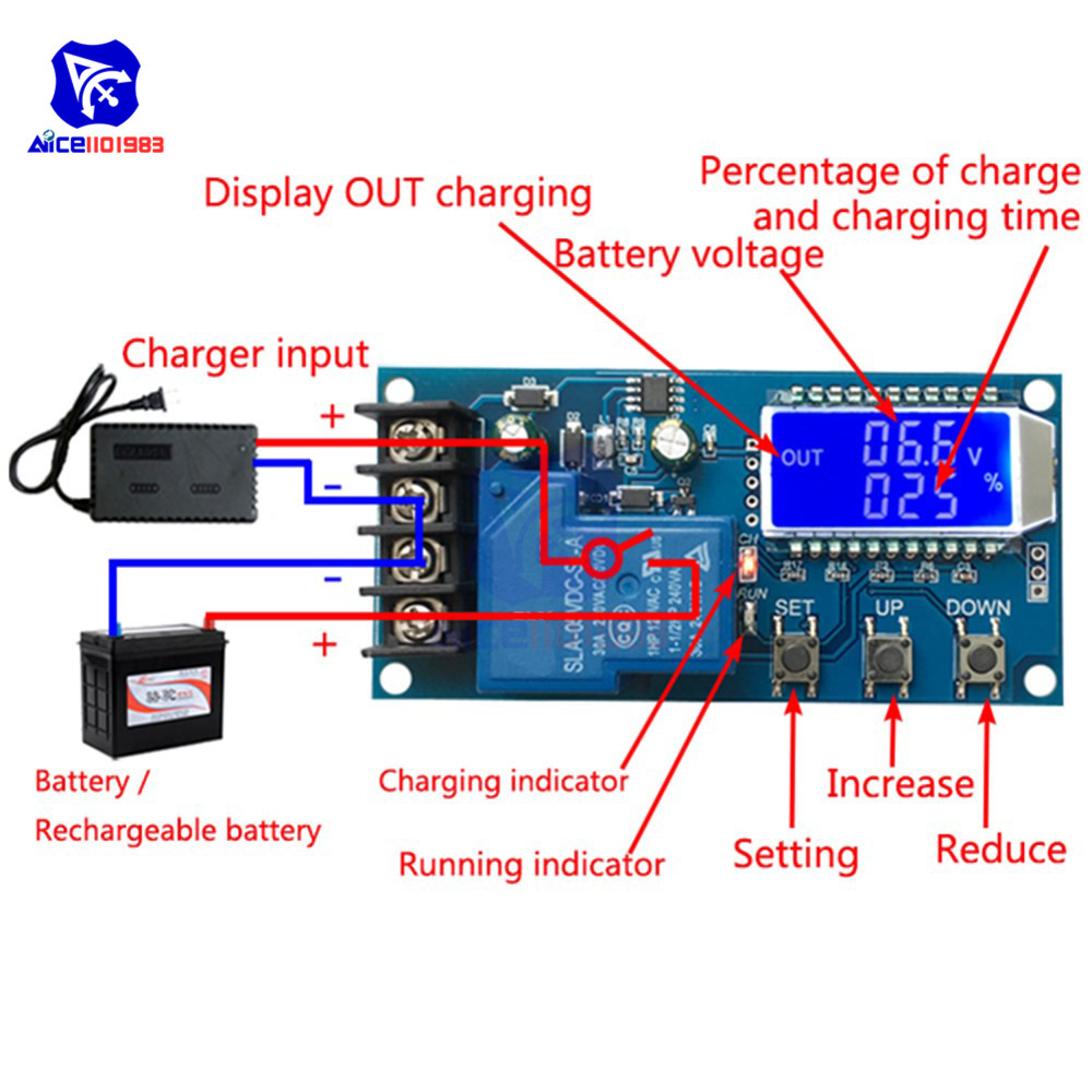 Diymore XY-L30A NC Battery Charging Control Module Digital Full Power Off Overcharge Protection Switch 6-60 V With LCD Display