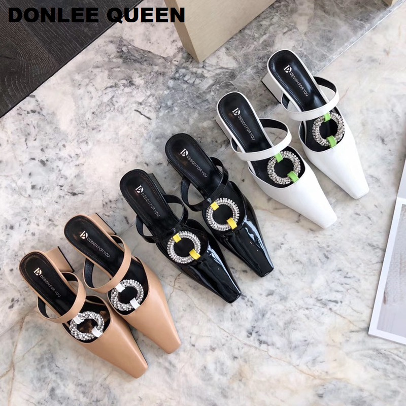 New Spring Thick Heel Mule Slippers Women Slip On Casual Slides Crystal Outside Slippers Elegant Sandals For Party Wedding Shoes