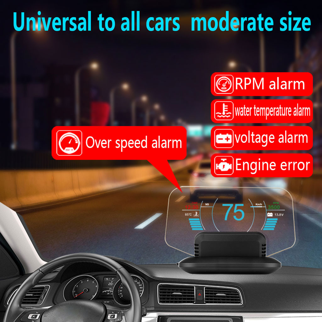Car-Detector Mirror Speedometer Head-Up-Display Speed-Projector Auto Color LCD Security-Alarm