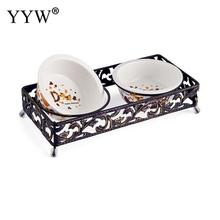 Lace Retro Dog Bowl Pet Food Stainless Steel Double Ceramic Dining Table Cat