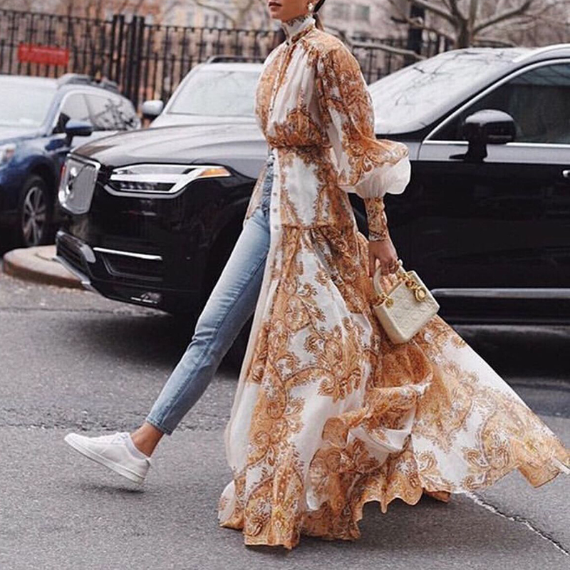 Kadın Giyim'ten Elbiseler'de GALCAUR Baskı Maxi Elbise Kadın Standı Yaka Fener Kollu Yüksek Bel Bölünmüş Ince Uzun Elbiseler Kadın Moda Yaz 2019'da  Grup 3