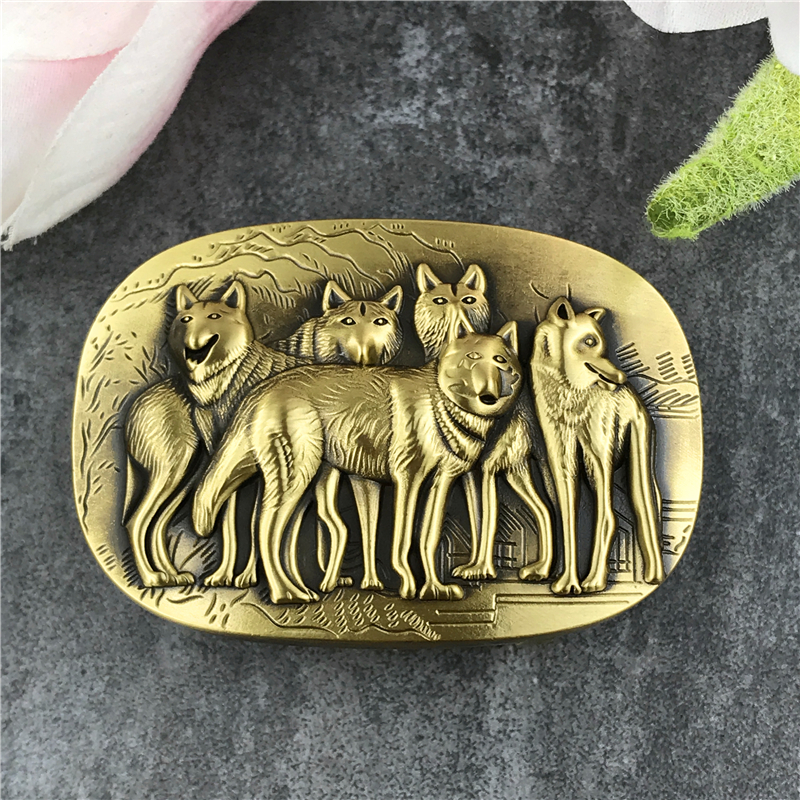 Solid Brass Belt Buckles For Men Belt Luxury Waist Wolf Buckle For Belt DIY Accessories Leather Craft Men Buckle Belt BK0026