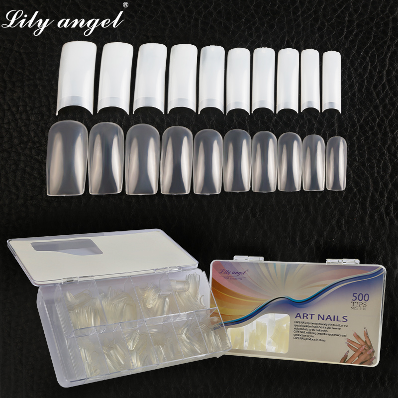 LiLy Angel 500pcs/box Exquisite High-endTransparent White False Nail Art Tips Full Cover Manicure Tools