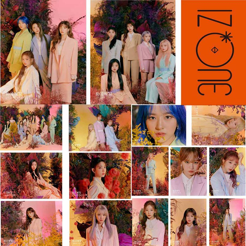 17 Pcs/Set IZONE New Album BLOOM*IZ Lomo Card Set Photo Card PVC Crystal Card Stickers For Bus Student Card Stickers image