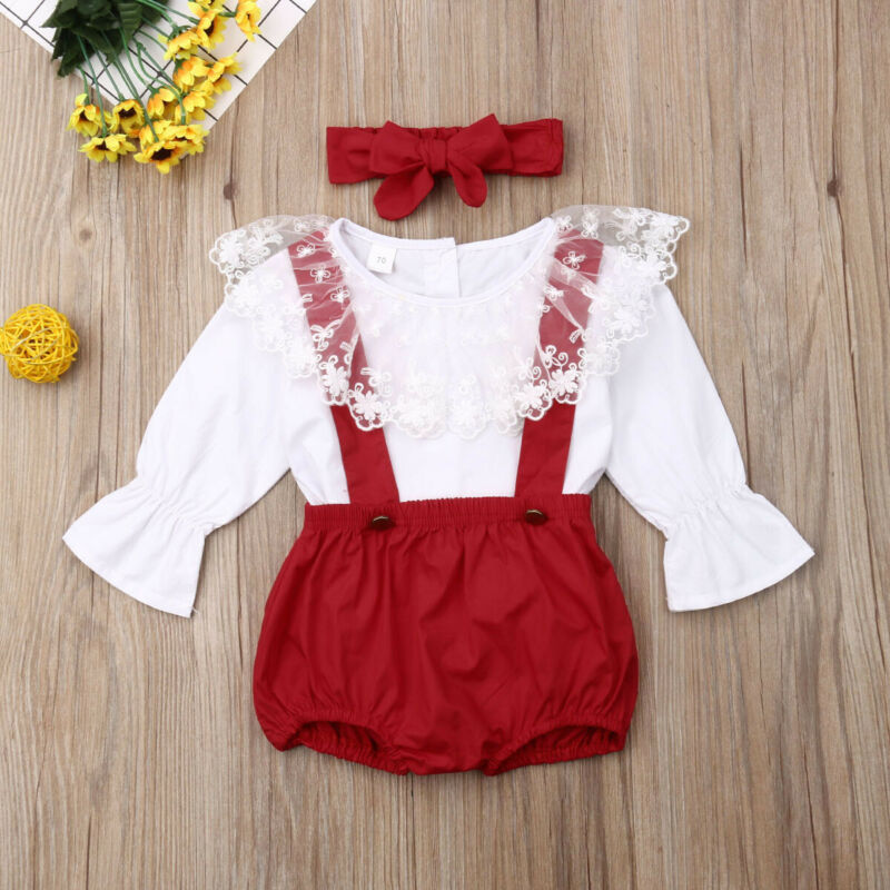 0 24M Newborn Baby Girls Clothing Set Princess Lace Long Sleeve Tops Red Overall Headband Christmas Baby Girl Costumes in Clothing Sets from Mother Kids