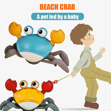 Beach Toys for Children  Water and Land Crab Toys on A Rope  Pull A Rope To Walk on A Chain Crab  Baby Splashing Bath Toy