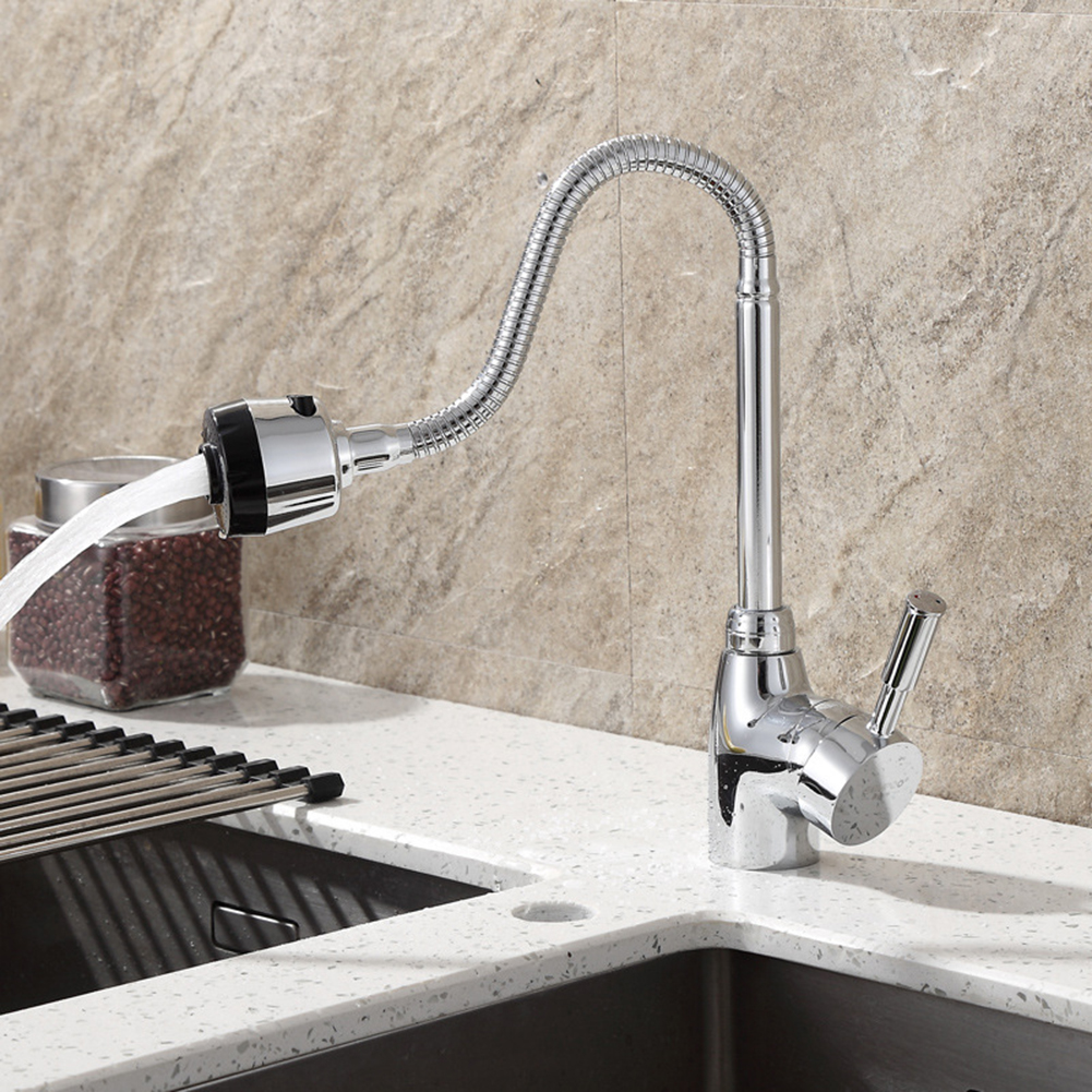 Rotation Tube 360 Degree Kitchen Sink Faucet Pipe Fittings Single Handle Connection Stainless Steel Sink Faucet Sink Faucet Pipe