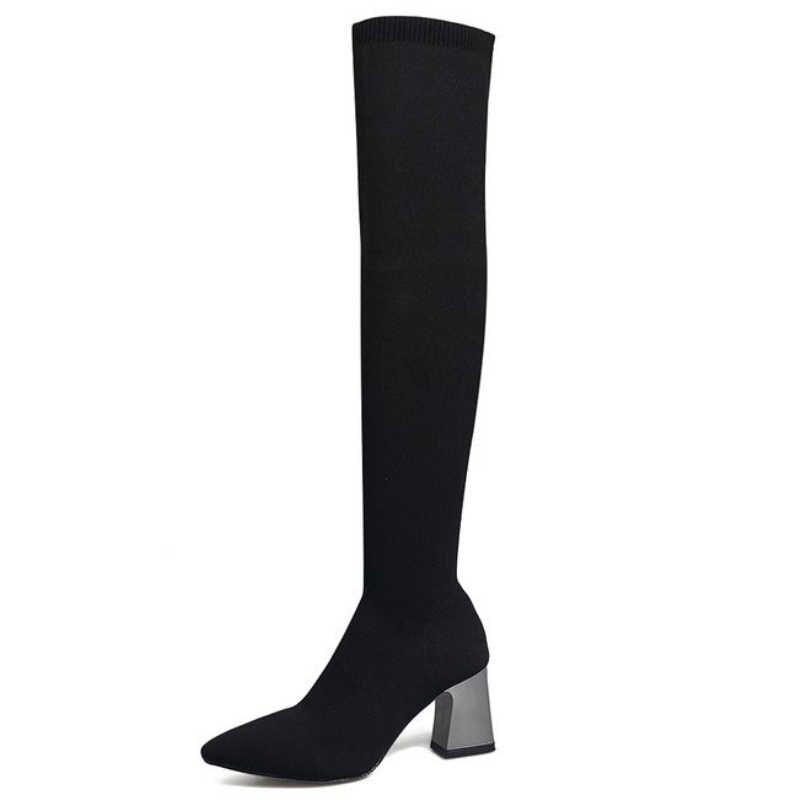 XZ045 femmes chaussettes à tricoter bottes femmes Chunky talons hauts dames chaussures Slim Fit sur le genou chaussons dames Sexy noir talon haut
