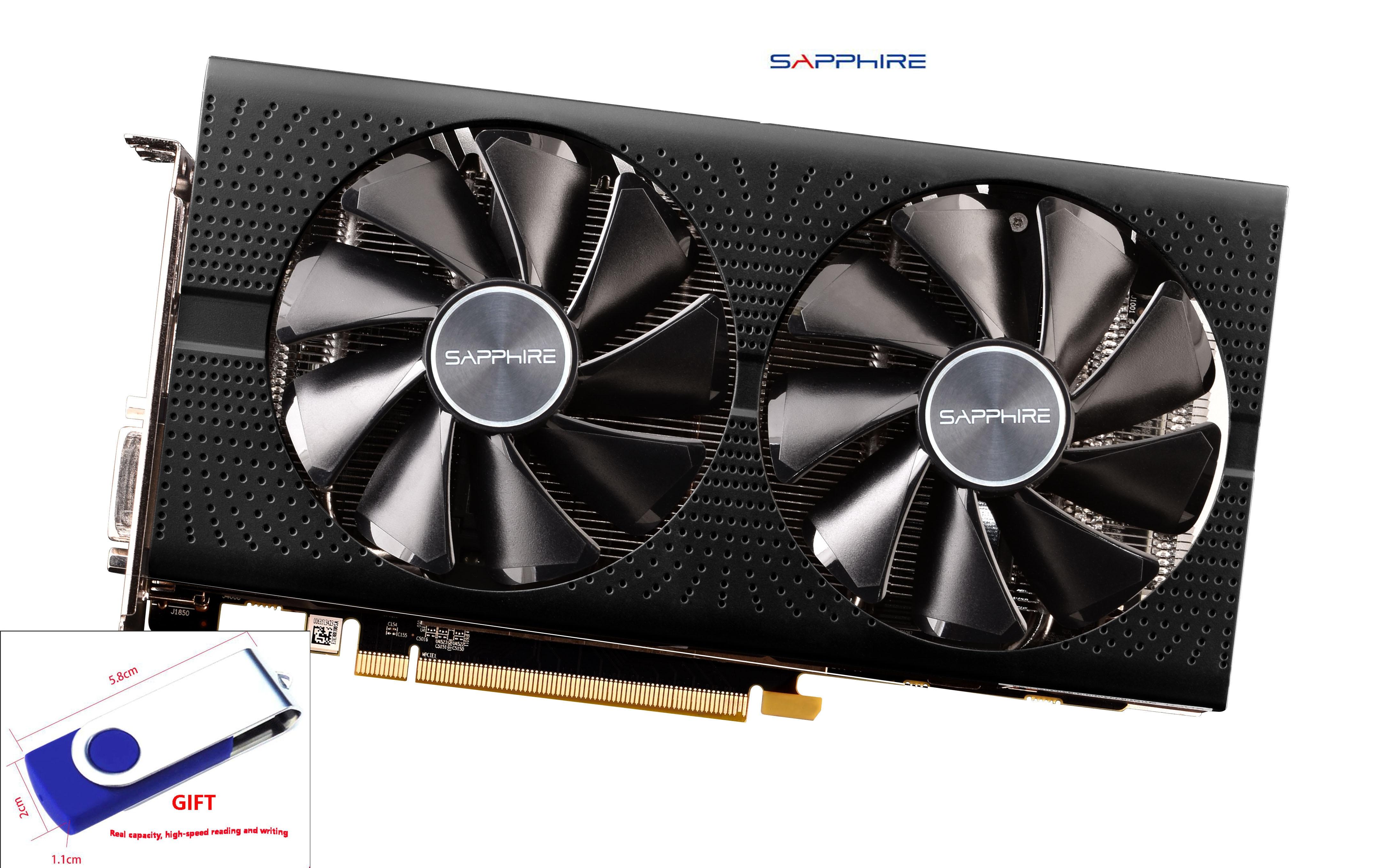 Verwendet, SAPPHIRE Video Karte RX 580 2048SP 4GB 256Bit GDDR5 Grafiken Karten für AMD RX 500 serie VGA Karten mit 32GB U DISK