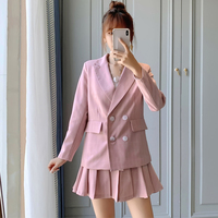 2019 winter new small suit Korean version of the goddess foreign leisure suit two sets of women