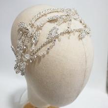 Luxury Crystal Bridal Tiara Antique Silver Leaf Wedding Crown Handmade Headband Party Prom Hair Jewelry Brides Accessories