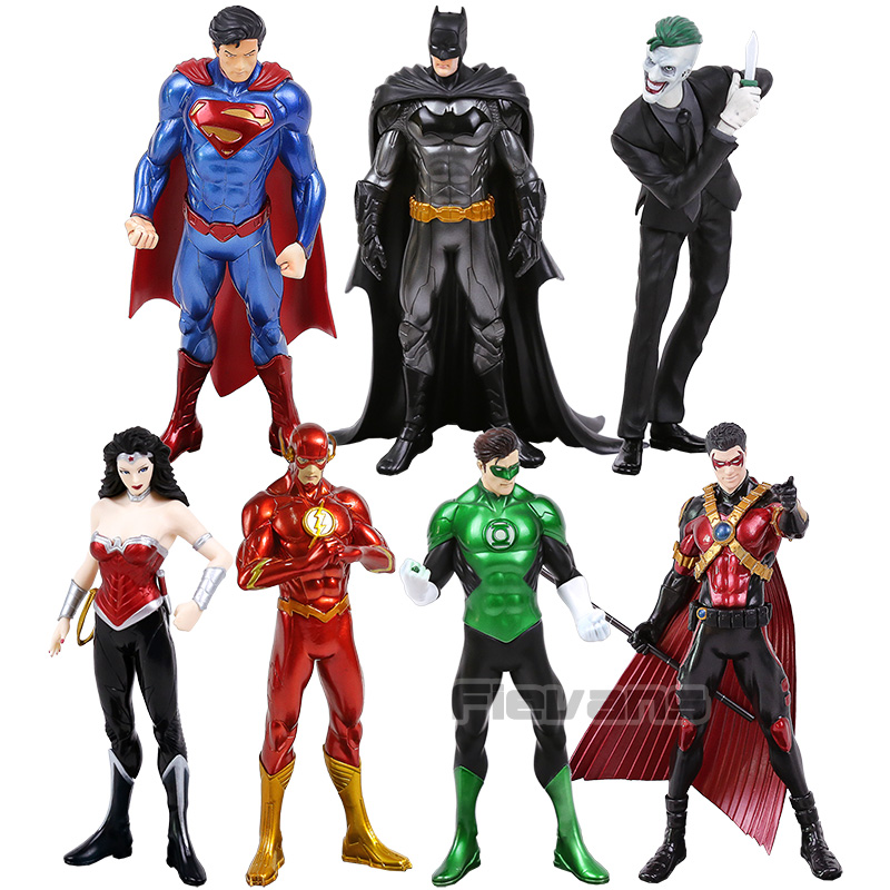 Artfx + Patung DC Superman Batman Joker Green Lantern Flash Wonder Woman Robin 1/10 Skala Digunakan Dicat Gambar koleksi Mainan