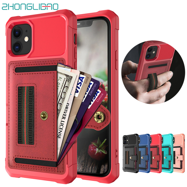 Wallet Shockproof Case for IPhone 11 Pro Max Silicone Bumper Armor Phone Cover for IPhone Xs Max Xr 8 7 6 6s X Plus Card Holder
