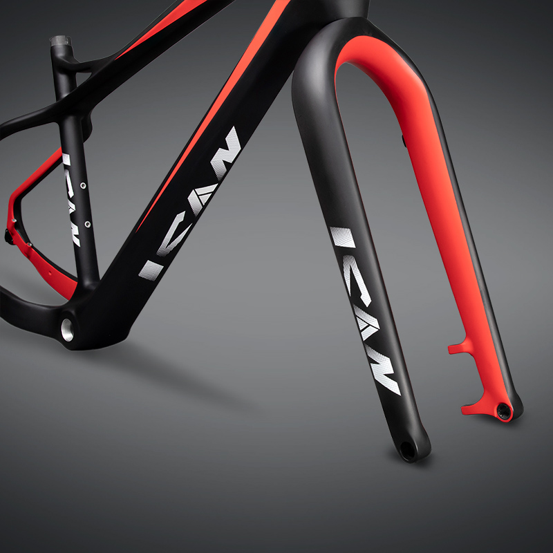 Купить с кэшбэком 26er carbon fat bike frame 197mm rear space fat bike carbon frame UD matt Red color with ican brand 17/19 inches SN02