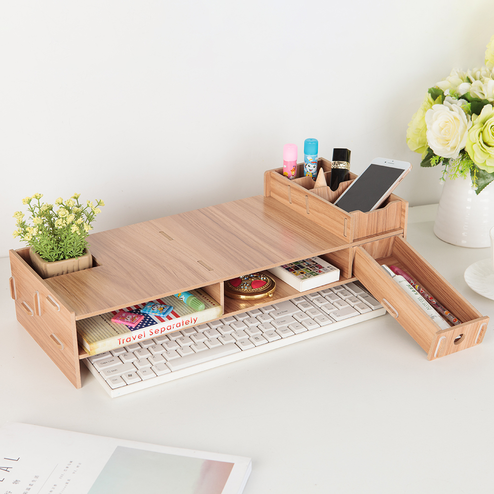 Wooden LCD Desktop PC Monitor Riser Stands Desks Organizer Household Bedroom Accessories for iMac Laptop Computer image