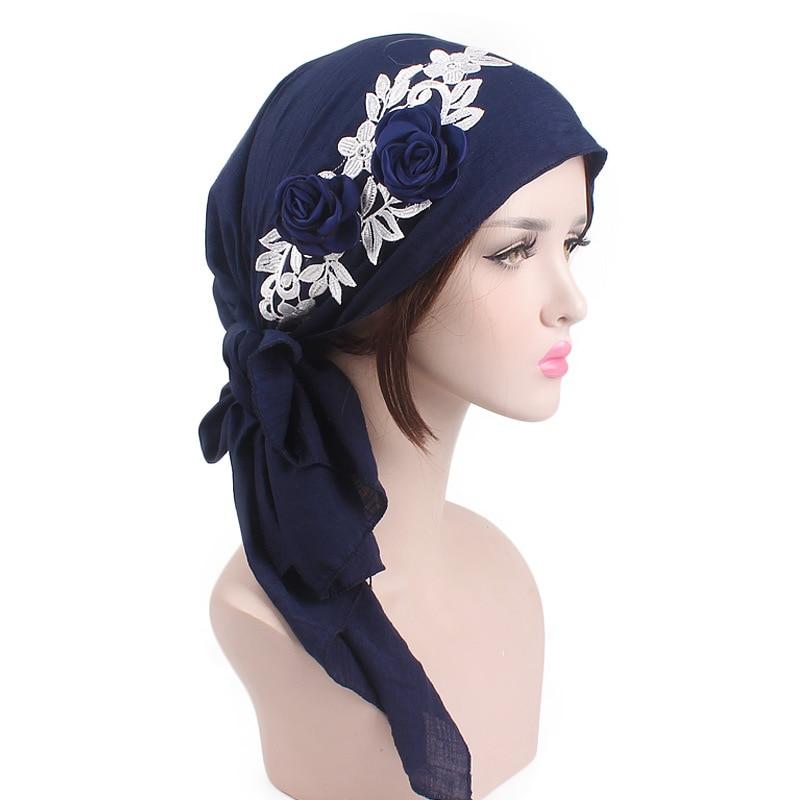 2020 Fashion New Flowers Women Inner Hijab Caps Rural Style Ready To Wear Muslim Headdress Lady Wrap Head Scarf Turban Bonnet
