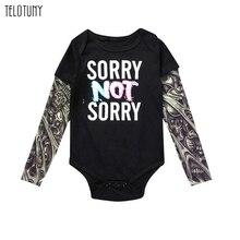 TELOTUNY/Модный комбинезон для маленьких мальчиков с длинными рукавами и принтом тату в стиле рок; одежда для маленьких мальчиков; лоскутное одеяло; комплект одежды; 109