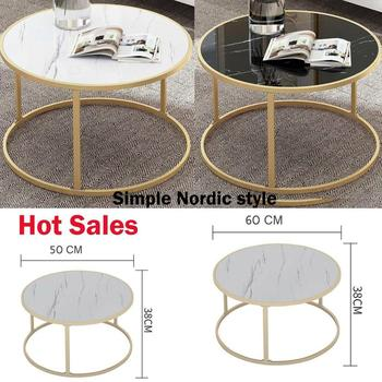 Black /White D-50/60CM Round Marbling Coffee Table Side End Living Room Gold Finish Frame Modern
