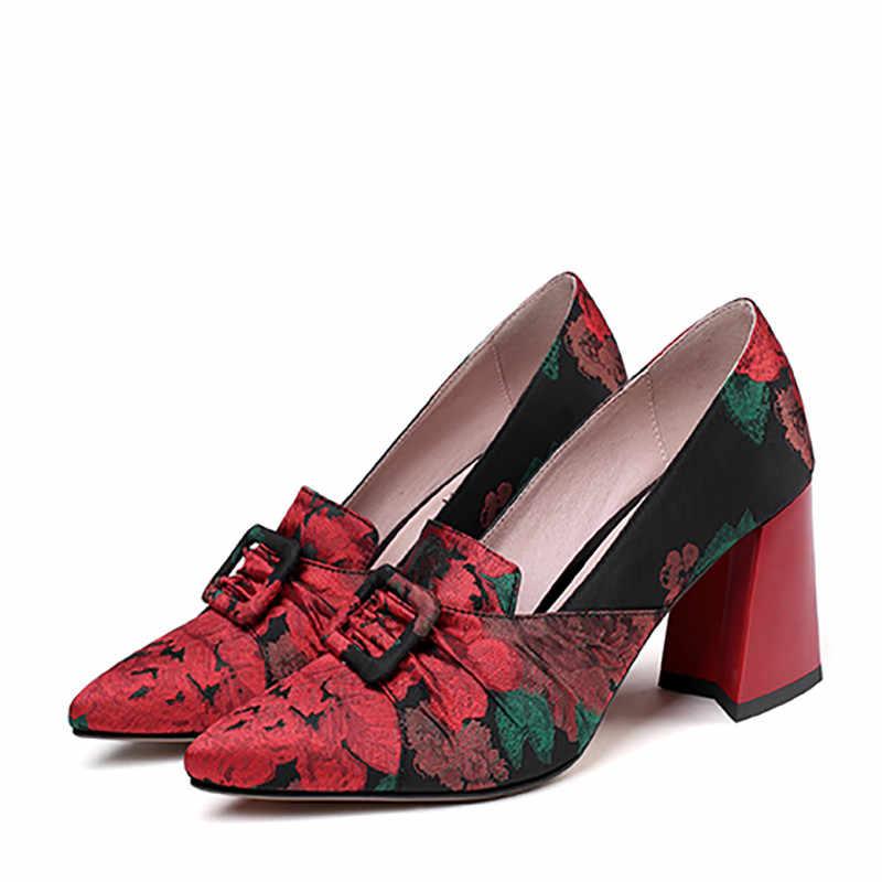 ASUMER 2020 en kaliteli ipek baskı pompaları kadın ayakkabı toka etnik tarzı tek ayakkabı bahar yaz yüksek topuk parti ayakkabıları kadın