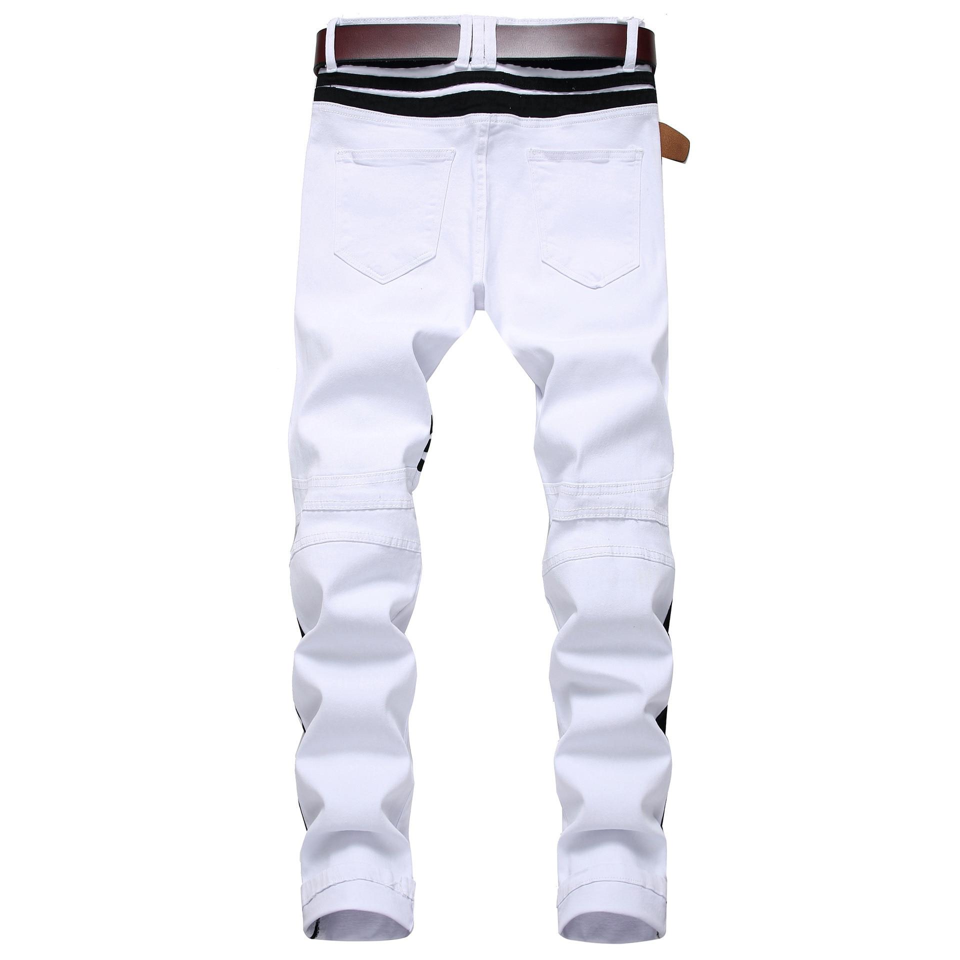 Men White Zipper Jeans Black Edge Decoration Pin Tiao Slim Fit Elasticity With Holes MEN'S Casual Trousers