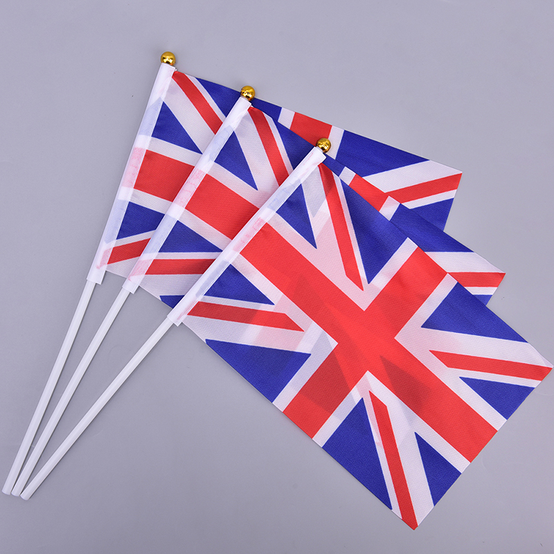 10pcs 21*14cm England National Flag UK Flying Flag Britain United Kingdom Banner With Plastic Flagpoles Hand Waving Flags