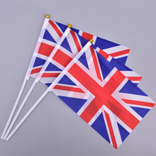 10 pçs 21*14cm inglaterra bandeira nacional reino unido bandeira voando grã-bretanha reino unido bandeira com flagpole de plástico mão acenando bandeiras