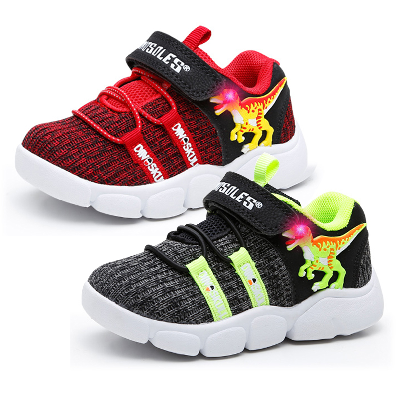 2020 Autumn LED Boys Sneakers 3D Dinosaur Children Shoes Breathable Light Up Kids Trainers Outerdoor Toddler Sport Footwear