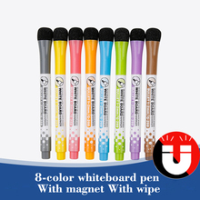 8 pcs/lot Magnetic Water Colour Whiteboard Pen White Board Dry Eraser Marker Pen with Eraser Magnetic WaterColor Pen
