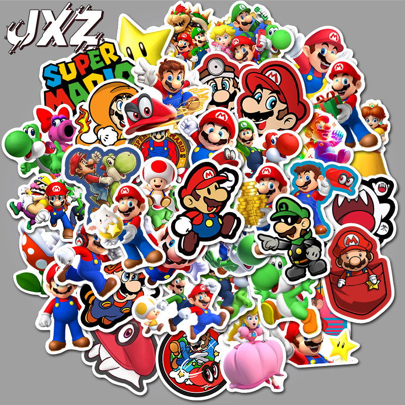 50Pcs/pack Classic Game Super Mario Cartoon Stickers Luggage Laptop Bicycle Motorcycle Notebook Waterproof Toys Stickers