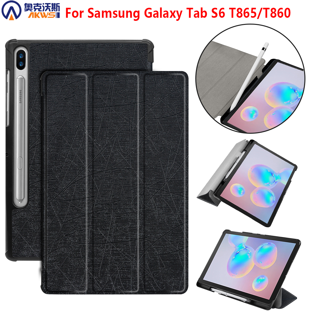 <font><b>Tablet</b></font> <font><b>Case</b></font> for <font><b>Samsung</b></font> <font><b>Galaxy</b></font> <font><b>Tab</b></font> S6 <font><b>10.5</b></font> 2019 SM-T860 SM-T865 Smart Cover Pencil <font><b>Case</b></font> Protective Shell /skin Auto Wake/sleep image