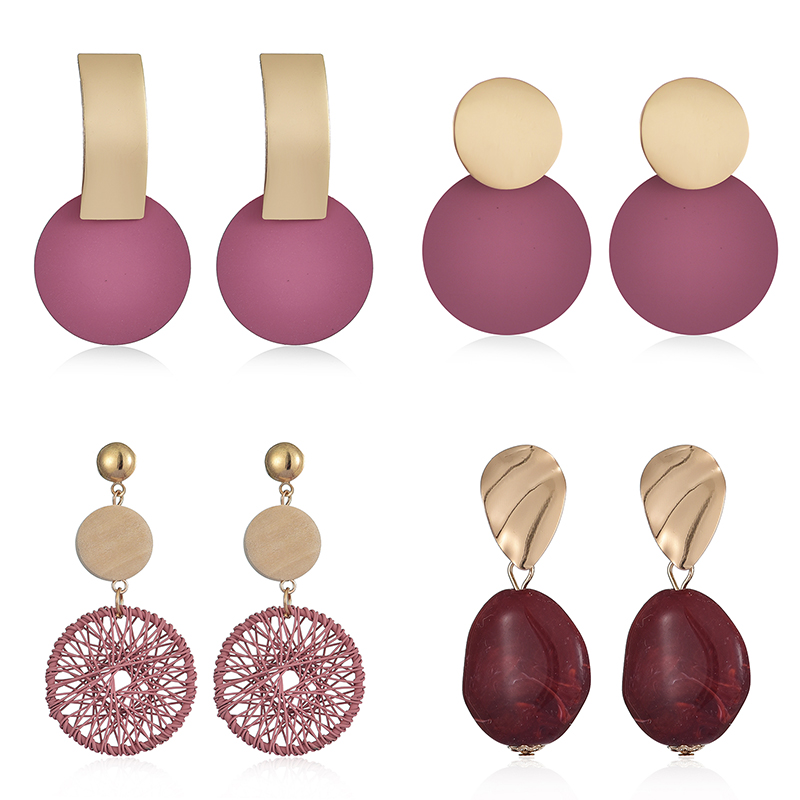 New Fashion Women Round Red Drop Earrings Geometric Sweet Colorful Acrylic Earrings 2020 Statement Girls Party Jewelry