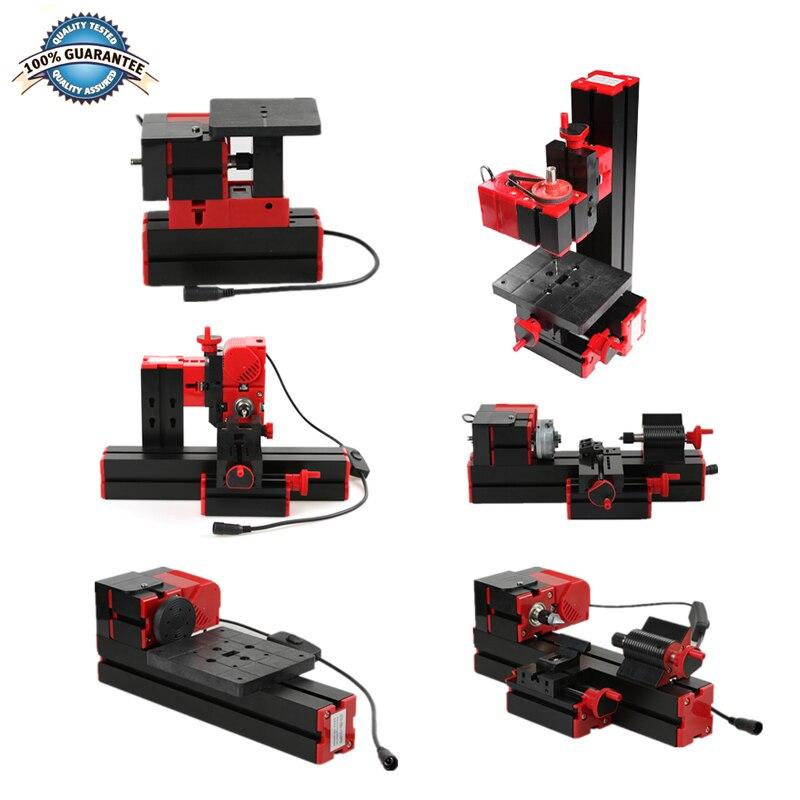 Mini Drehmaschine Maschine Torno Drehmaschine DIY Werkzeuge 6 in 1 Motorisierte Transformator Mehrzweck Holzbearbeitung Bohrer Kunststoff Metall Holz Drehmaschinen