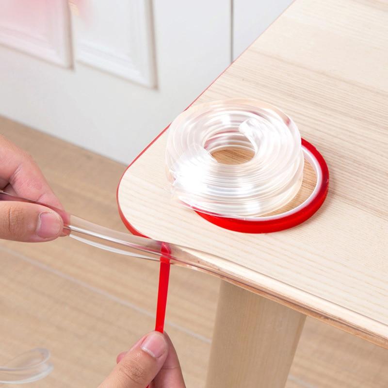 Infant Baby Children Safety Corner Protection Strip Guards 1m Transparent Table Edge Furniture Corner Protectors Soft PVC Bumper