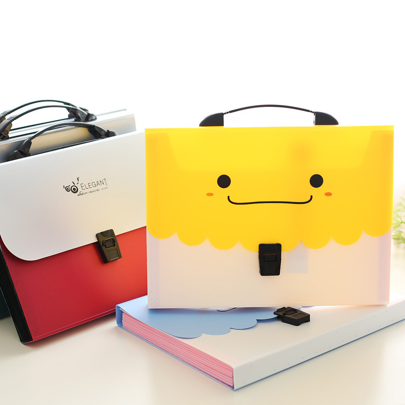 Cartoon Smile File Folder 13 Inner Layers File Organizer Document Folder Office Organizers Smiling Folder A4 Kawaii Style