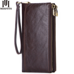 MISFITS QualityCowhide Men Clutch Wallets Genuine Leather Long Purses Business Large Capacity Wallet Double Zipper Free Shipping
