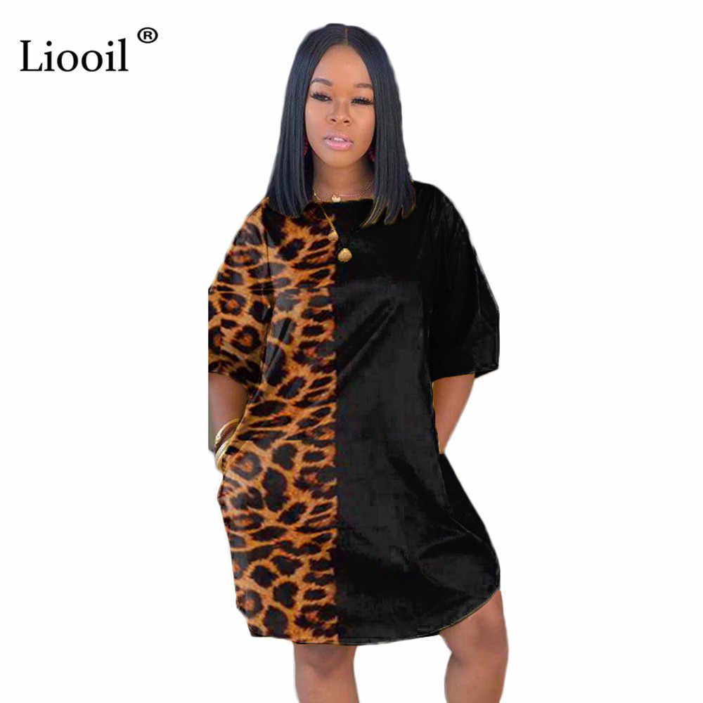 Liooil Splice Luipaard Print Sexy Mini Jurk Met Zakken 2019 Korte Mouw O Nek Losse Jurken Vrouw Party Night Club outfits