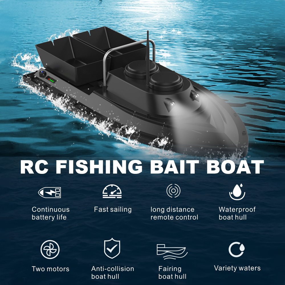 Image 3 - D11 RC Bait Boat Fishing Finder 1.5kg Loading 500m Remote Control Boat Double Motors 2 Led Lights Fixed Speed Fishing ToolsRC Boats   -