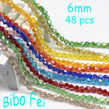Free Shipping multi color 6mm 48PCS Czech Glass crystal beads,Bicone crystal beads, bracelet necklace Jewelry Making(China)