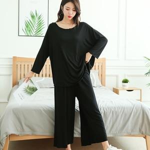Image 5 - プラスサイズホームスーツ女性秋の新長袖パジャマツーピースセット 9 点ワイド脚パンツパジャマファム