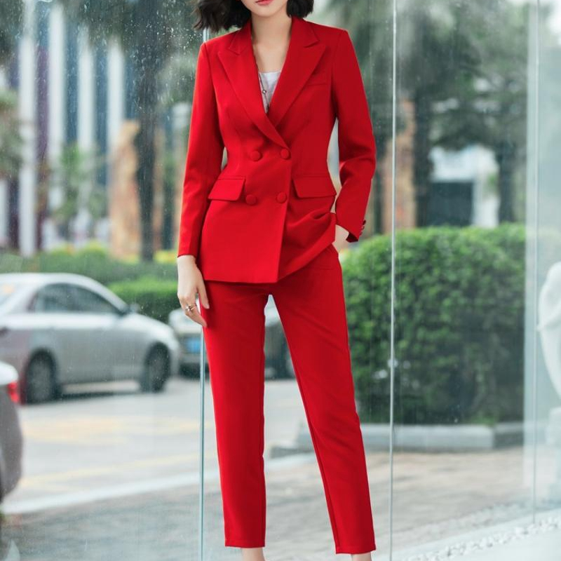 SWYIVY Casual Solid Women Pant Suits Notched Collar Blazer Jacket Female Suit Spring Autumn Red Double Breasted Two-piece Suit