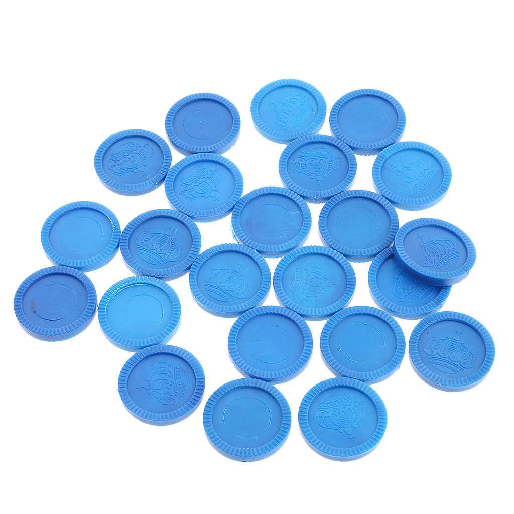 24 חתיכות פלסטיק משחק מטבע שבבי עם כתר דפוס DIY קזינו
