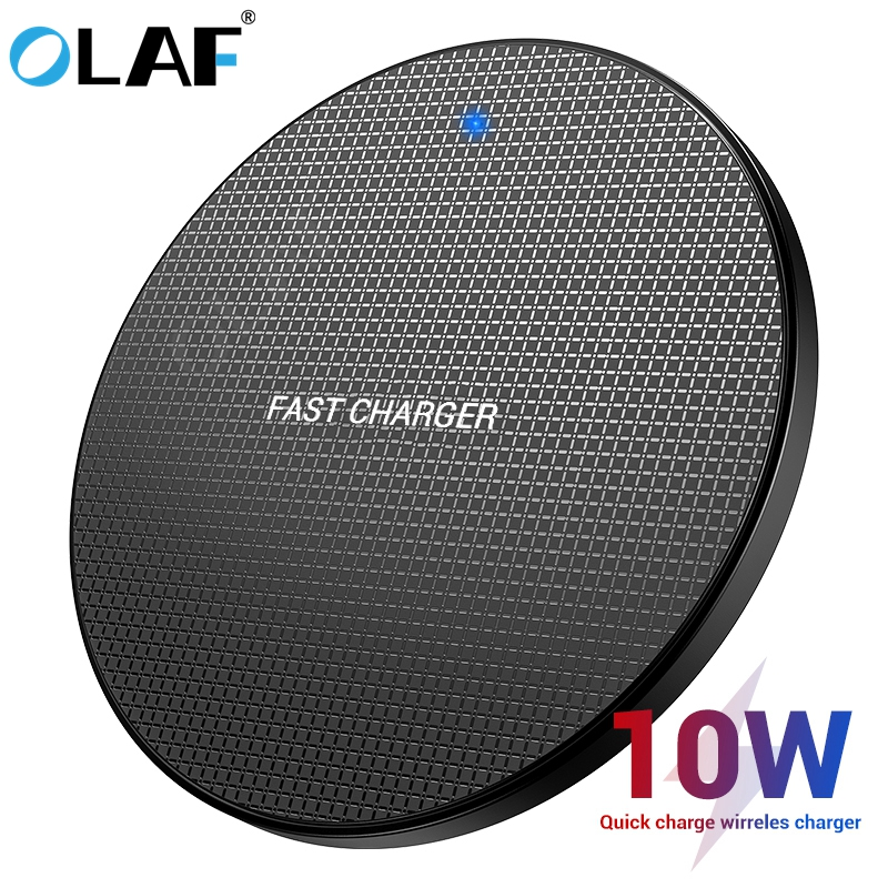 OLAF 10W Wireless Charger Qi Fast Wireless Charging Pad For IPhone 11 Xs Max X 8 Qi Charger Adapter Receiver For Samsung S10 S9