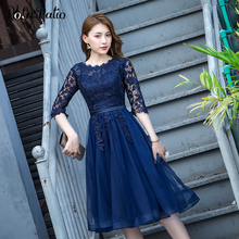 Navy Blue Short Evening Dresses With Sleeves Elegant Scoop Neck A-line Lace Tulle Plus Size Mother Of The Bride Dresses navy lace hollow out short sleeves mini dresses with lace up design