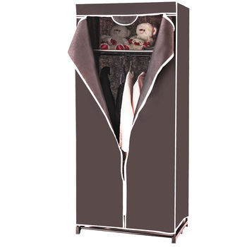 Costway Portable Clothes Closet Non-woven Fabric Wardrobe Storage Organizer Brown