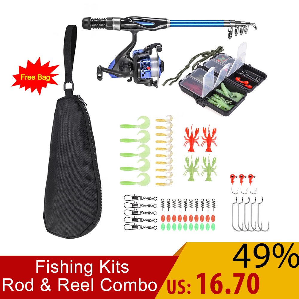 Full Fishing Kits Fishing Rod And Reel Combo Telescopic Fishing Rod Spinning Reel Set With Hooks Soft Lures Barrel Swivels Bag