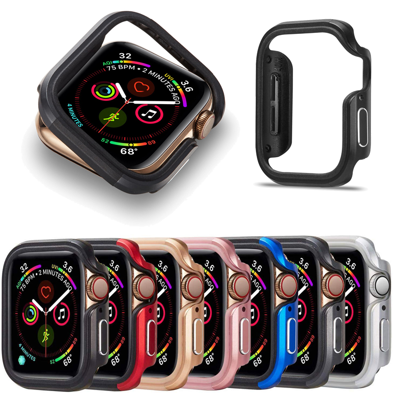 TPU+Aluminium Alloy Case For iwatch series 5 4 40/44mm Protector Shockproof Bumper Frame Case Cover For apple watch accessories