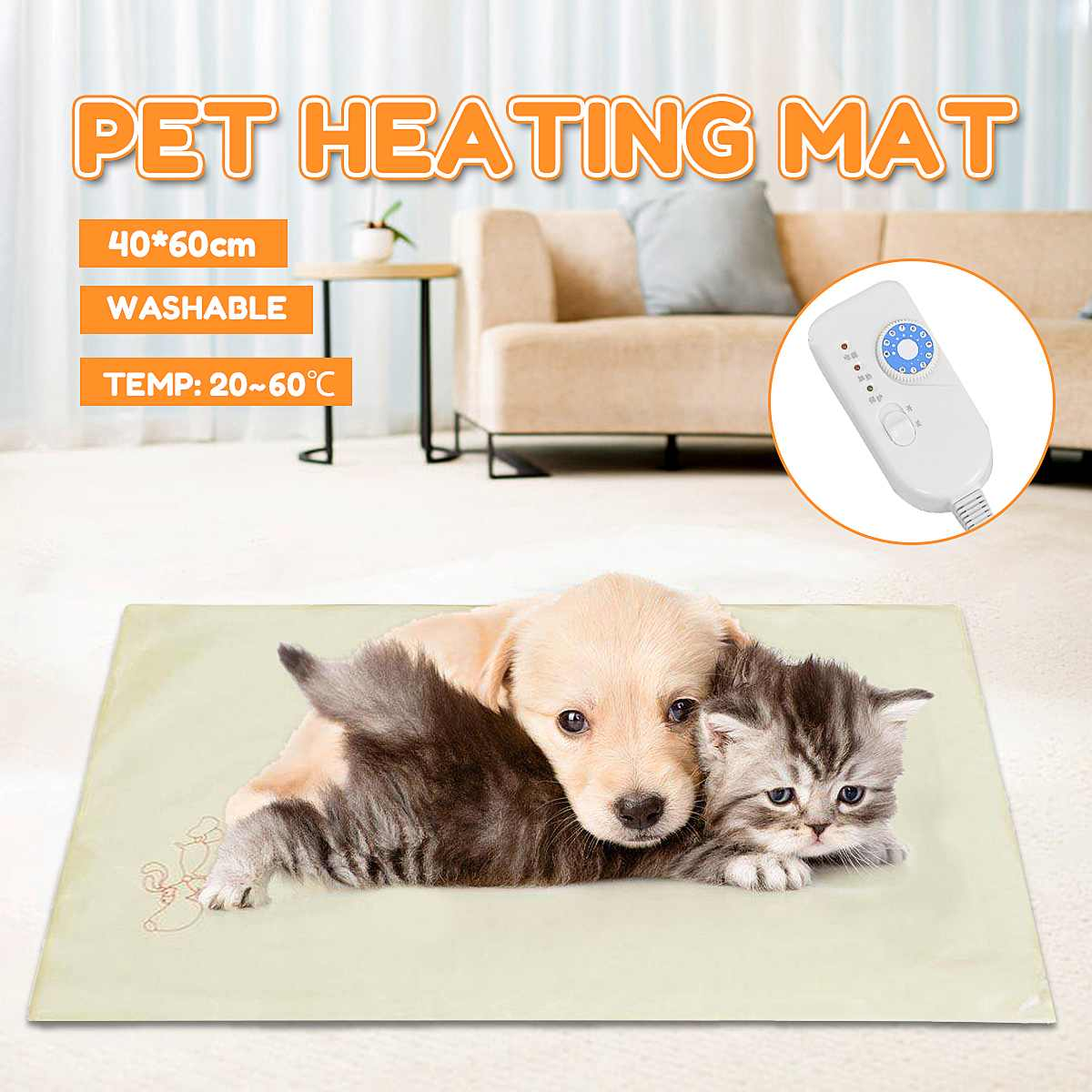 220V 35W 10 Level Waterproof  Electric BlanketThermostat Heater Mat Pet Dog Cat Puppies Heating Pad Kittens Winter Heating Bed