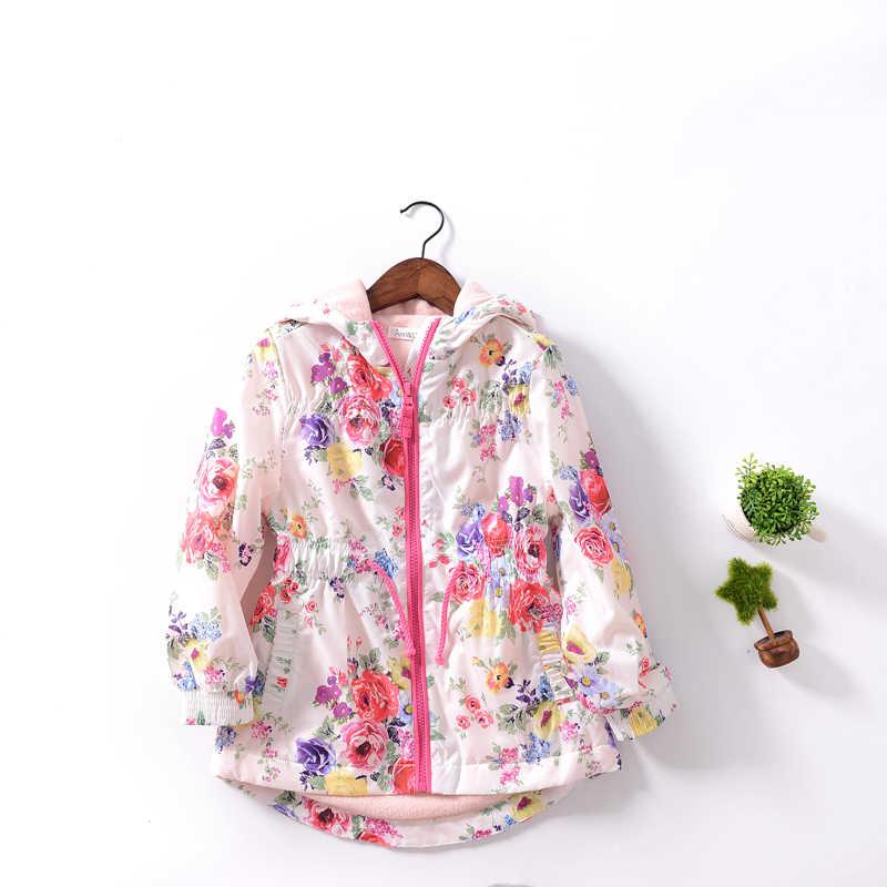 Детская верхняя одежда, новое пальто для девочек с капюшоном, бархатная ветрозащитная Длинная ветровка с цветами, модный топ, изысканная детская одежда