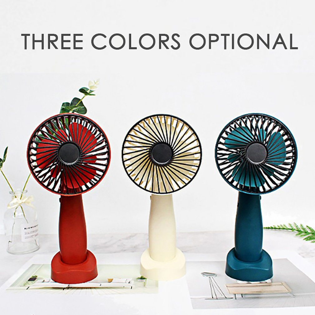 New Handheld Fan 3 Wind Modes Adjustable Speeds USB Rechargeable Travelling Handy Fan with Removable Base