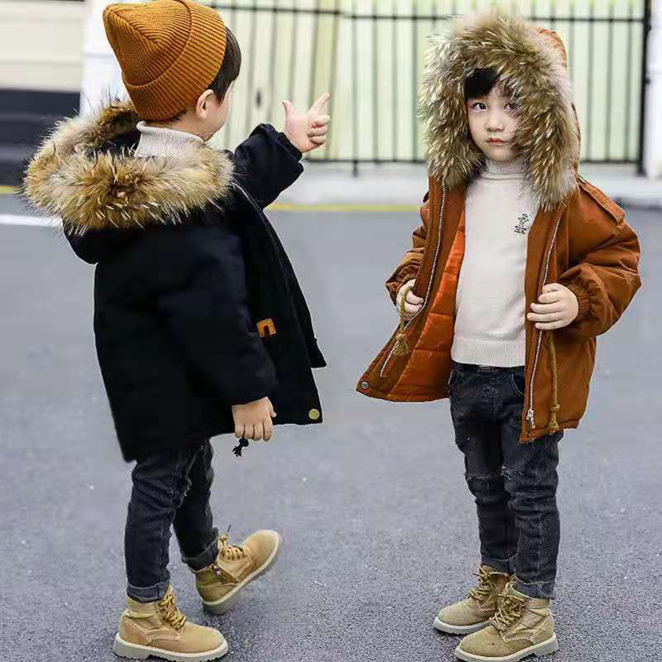 Children Clothing Winter Fur Collar Jacket Size For Girls Boys 12 10 8 6 4 Years Warm Hooded Thick Cotton Padded 2 Colors Parkas